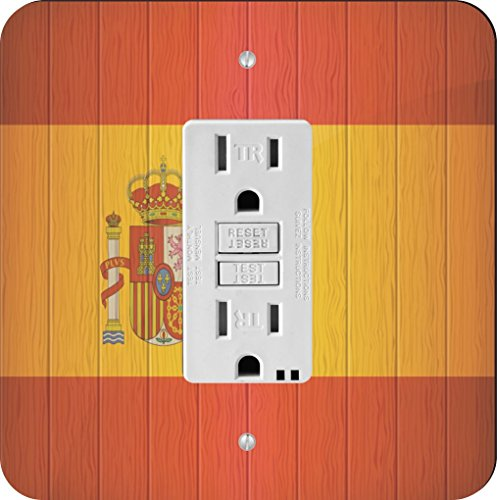 Rikki Knight 8561 Spain Flag on Distressed Wood Design Light Switch Plate by Rikki Knight