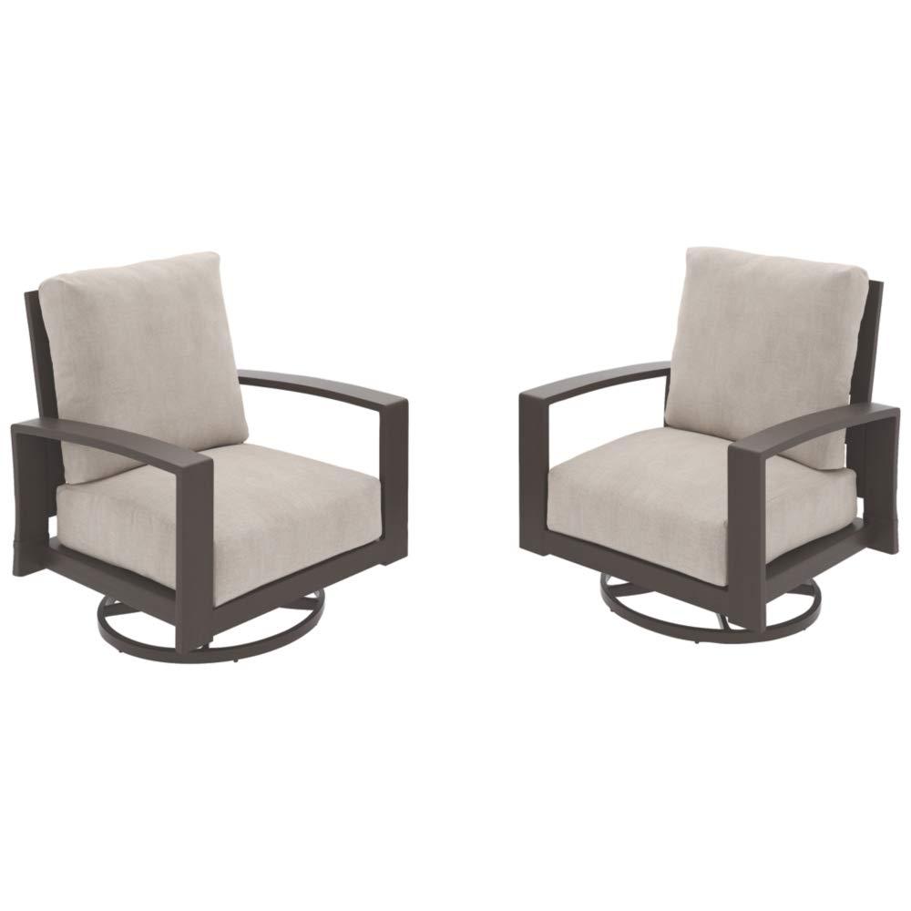 Ashley Furniture Signature Design - Cordova Reef Outdoor Swivel Lounge Chair - Set of 2 - Ladderback Design - Dark Brown by Signature Design by Ashley