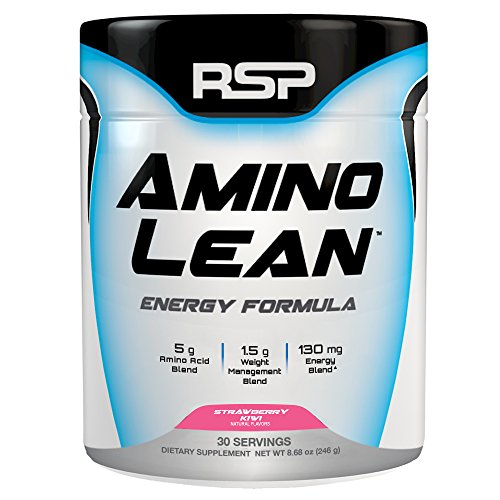 RSP AminoLean - Energy & Weight Loss Formula, BCAA Powder with CLA, Green Tea Extract and Caffeine for Building Lean Muscle and Burning Fat, Strawberry Kiwi, 30 Servings