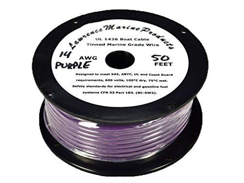 (14 AWG Tinned Marine Primary Wire, Purple, 50 Feet)