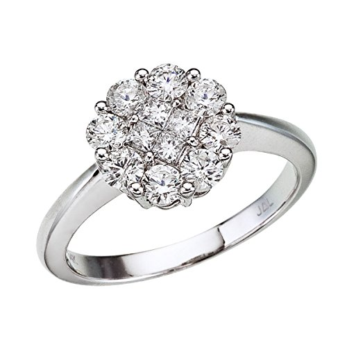 1.00 Carat ctw 14k Gold Round White Diamond Round Cluster Solitaire Engagement Ring 1 CT - White-gold, Size 5.5
