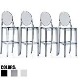 2xhome - Set of Four (4) - Smoke - 30'' Seat Height Barstool Modern Ghost Side Bar Stool Counter Stool - Accent Stool - Lounge No Arms Armless Arm Less Ghost Stool Smoke