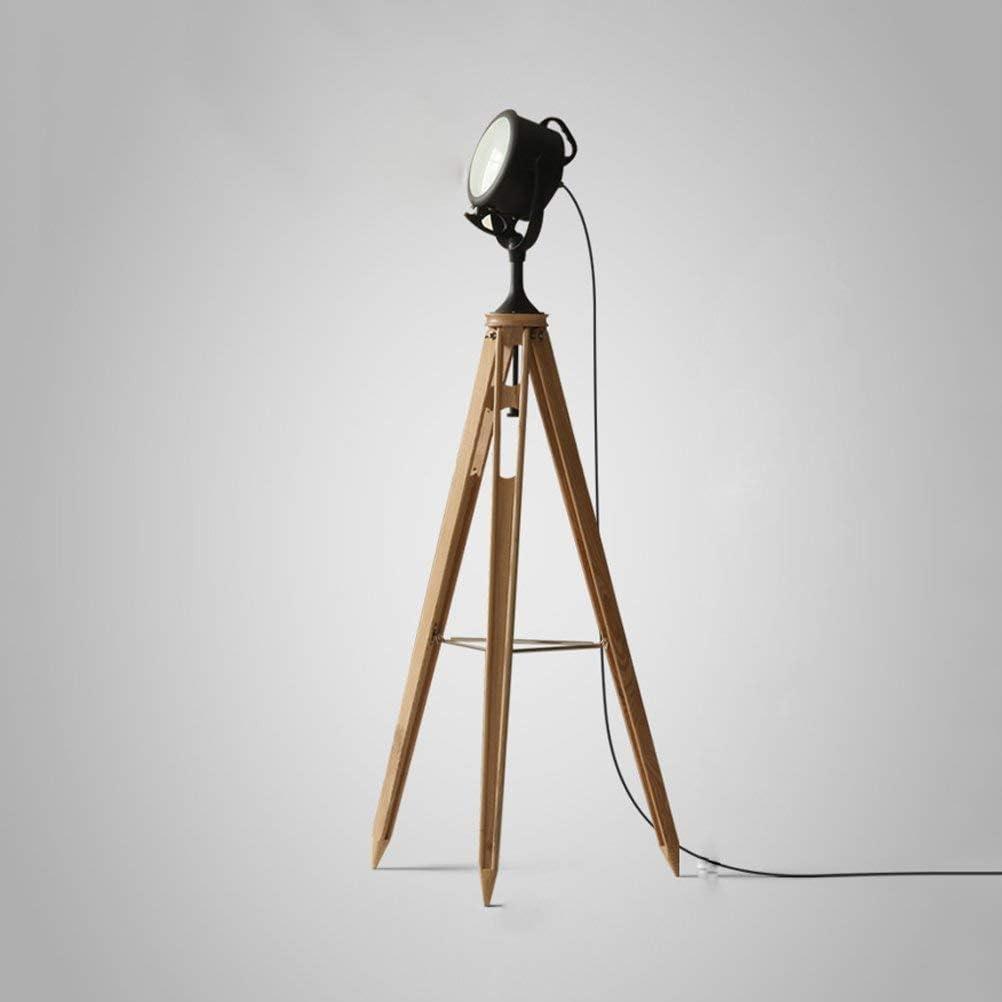 GUOXY Lámpara de Pie, Elegante Vintage Retro Fotografía Industrial Fotografía Estilo de Estudio Trípode Lámpara de Pie de Madera Y Diseño de Lentes Heladas - Iluminación de Accesorios de Diseño