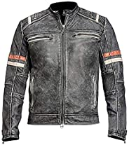 Cafe Racer Distressed Retro Motorcycle Vintage Style Leather Jacket for Men