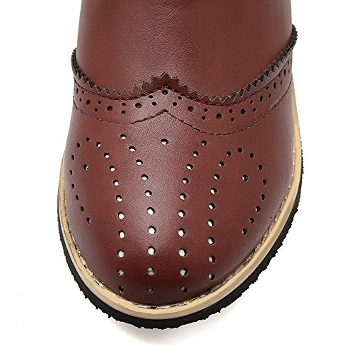 Boots Heels Solid Brown PU Toe Closed Round AmoonyFashion Pull Womens Kitten On wAqStFvH