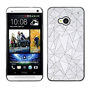 Planetar® ( Pattern Black Lines Poly Art Grey Abstract ) HTC One M7 Fundas Cover Cubre Hard Case Cover