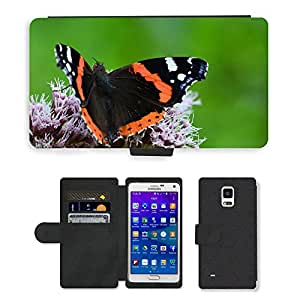 Super Stella Cell Phone Card Slot PU Leather Wallet Case // M00107527 Butterfly Insect Collect Nectar // Samsung Galaxy Note 4 IV