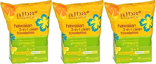 Alba Botanica Hawaiian 3-in-1 Clean Towelettes 30 Count (Pack of 3) ()