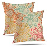 Batmerry Spring Pillows Decorative Throw Pillow Covers 18x18 Inch Set of 2, Vintage Green Wallpaper Print Decorative Double Sided Square Pillow Cases Pillowcase Sofa Cushion