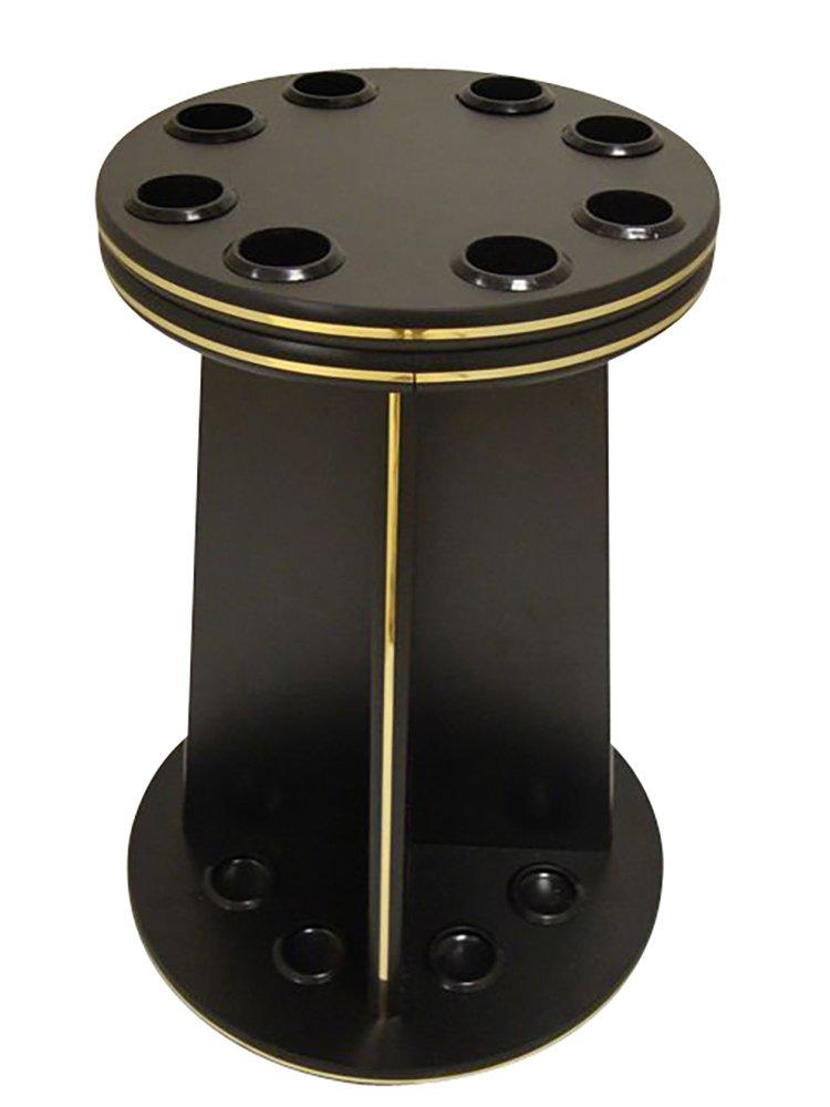 8 Cue Pool Stick Wood Floor Rack - Contemporary Black