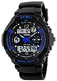 Fanmis Mens Sports Watches Multifunction Dual Time Alarm Stopwatch 50M Waterproof Analog Digital Led Wrist Watch