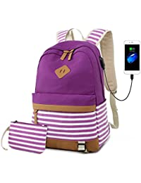 b97acca301dd Canvas Bookbags School Backpack Classic Schoolbag College Laptop USB  Backpack Travel Camping Backpack for Teen Girls