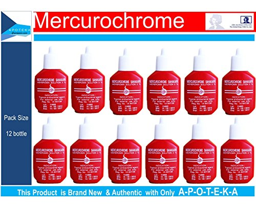 Mercurochrome Sahakarn 2 Percents Merbromin Solution (12 X Squeeze Bottles 0.5 Fl Oz) Inexpensive Treatment, Economical Topical Antibacterial Agent First Aid Clean Would In Hospitals And Nursing Homes ()