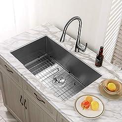 """Kitchen Kitchen Sink, MENSARJOR 32"""" x 19"""" Undermount Single Bowl 16 Gauge Stainless Steel Kitchen Sink with accessories modern kitchen sinks"""