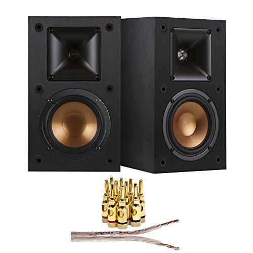 Klipsch R-15M Reference Bookshelf Monitor Speaker (2-Speakers) + 16 AWG Speaker Wire 100ft + Brass Speaker Banana Plugs 5-Pair (open screw)