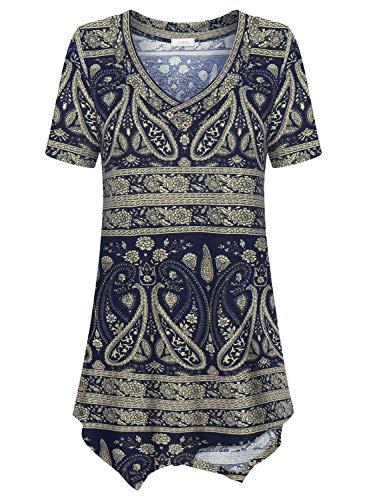 Women's Casual Tunic Tops, Paisley Print Short Sleeve V Neck Flowy Shirt for Leggings