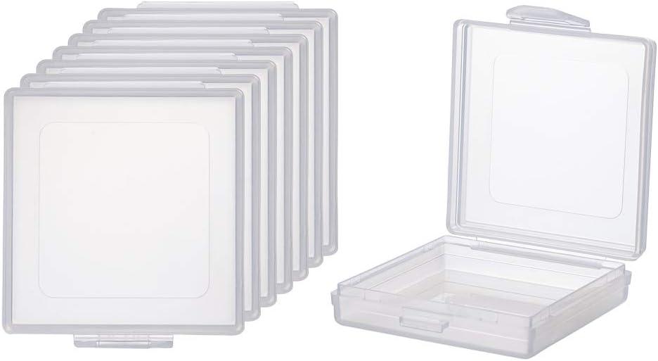 BENECREAT 8 Pack Caja Cuadrada de Plástico Transparente con Tapa de Bisagras 5x5x1.5cm Contenedor de Abalorios de Plástico para Artículos, Pastillas, Hierbas, Cuentas Pequeñas