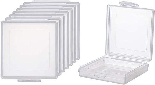 BENECREAT 8 Pack Caja Cuadrada de Plástico Transparente con Tapa ...
