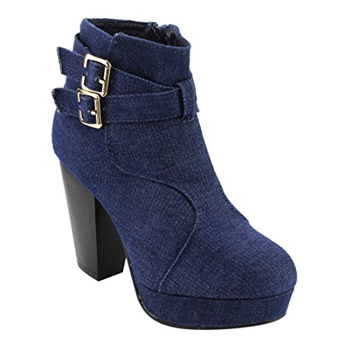 FOREVER FL60 Women's Platform Double Buckle Stacked Block Heel Ankle Bootie, Color:BLUE DENIM, ()