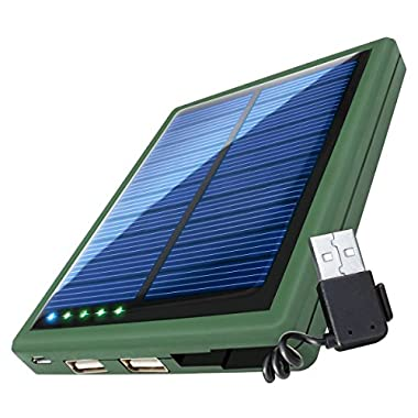 ReStore SL 5000 Solar Charger Battery Pack with Dual USB Charging Ports & Built-In Stowaway USB Cable by ReVIVE - Works with Apple , Samsung , LG & More Smartphones , Tablets & Other Portable Devices!