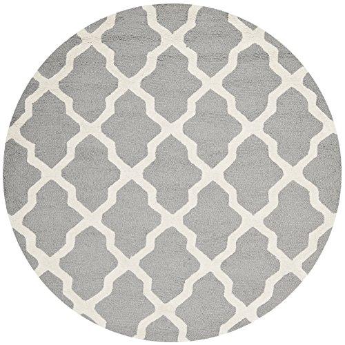 Safavieh Cambridge Collection CAM121D Handmade Moroccan Geometric Silver and Ivory Premium Wool Round Area Rug (4' Diameter)