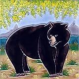Continental Art Center BD 2239 Bear Art Tile, 8 by 8-Inch, Black