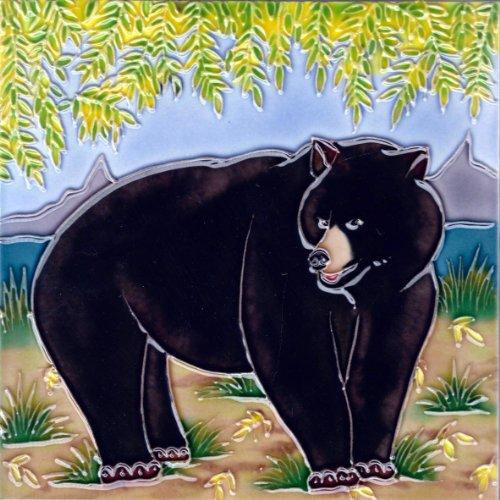 Continental Art Center BD 2239 Bear Art Tile, 8 by 8-Inch, Black ()