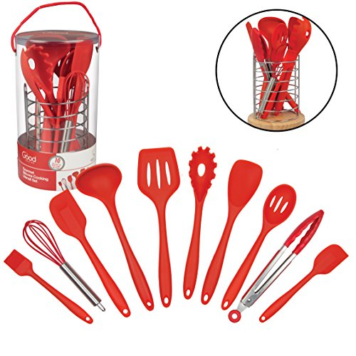 Kitchen Utensils w Bamboo Holder- 10 Pc Silicone Cooking Tools Set- Spatula, Spoon, Slotted Spoon, Tongs, Basting Brush, Ladle and More (Kitchen Utensil Holder Set)