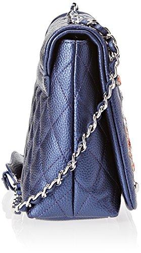 Tua by Braccialini Damen Patch Schultertasche, Blau (Blu), 8x19.5x29 cm
