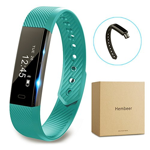 Fitness tracker watch, Hembeer V1 Smart Band with Step Tracker, Pedometer Bluetooth Bracelet Activity Tracker/ Sleep Monitor, Calories Track Sweatproof Health Band for iPhone & Android phones, Teal