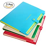 Expanding File Folder Colored, 8-Pocket Accordion Document Organizer, A4 Letter Size Office File Folders, 3-Pack Plastic Paper Storage Bags, for School & Office, with Snap Closure and Tabs