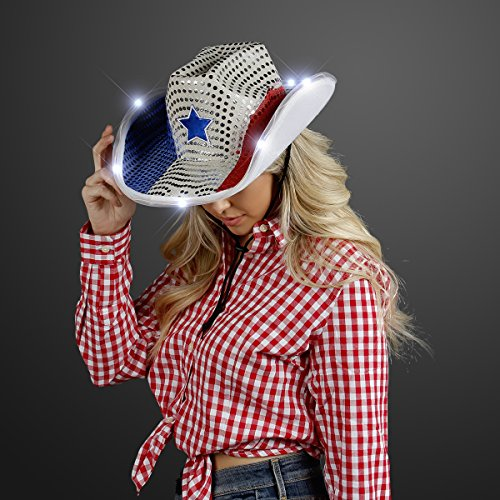 FlashingBlinkyLights Red White and Blue Sequin Light Up LED Cowboy Hat with White LED Brim -