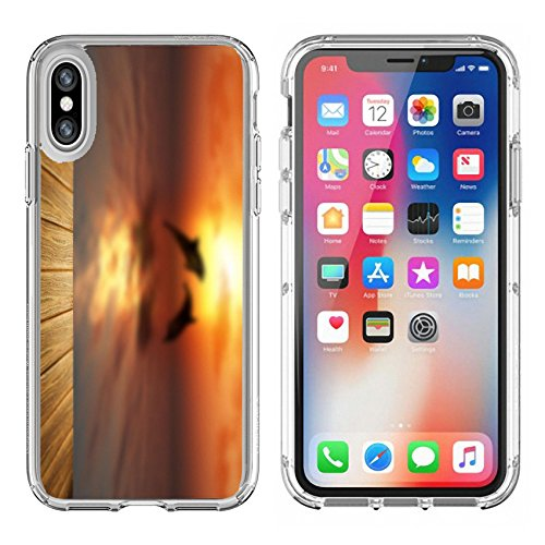 MSD Apple iPhone X Clear case Soft TPU Rubber Silicone Bumper Snap Cases iPhoneX 3D render of a wooden table looking out to sea with dolphins jumping Image 37359359 Customized Tablemats Stai