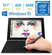 "2017 Lenovo Yoga Book 10.1"" FHD Touch IPS 2-in-1 Convertible Tablet PC, Intel Atom x5-Z8550 1.44GHz, 4GB RAM, 64GB SSD, Bluetooth, HD Graphics, Windows 10 Home- Carbon Black"