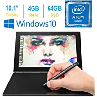 2017 Newest Lenovo Yoga Book 10.1 FHD Touch IPS 2-in-1 Convertible Tablet PC, Intel Atom x5-Z8550 1.44GHz, 4GB RAM, 64GB SSD, Bluetooth, HD Graphics, Windows 10 Home- Carbon Black