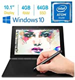 2017 Newest Lenovo Yoga Book 10.1' FHD Touch IPS 2-in-1 Convertible Tablet PC, Intel Atom x5-Z8550 1.44GHz, 4GB RAM, 64GB SSD, Bluetooth, HD Graphics, Windows 10 Home- Carbon Black