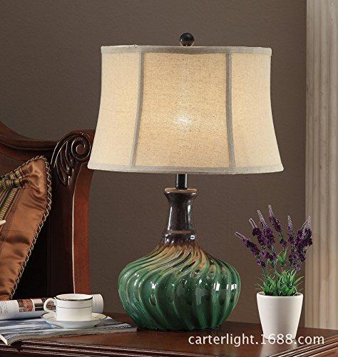 American country Tischleuchte continental Keramik dekorative Lampe im chinesischen Stil Wohnzimmer Studie creative green Schlafzimmer Nachttischlampe, 350*550mm