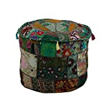 Traditional Green Ottoman Cover Pouf Home Decorative Living Room Foot Stool Vintage Indian Ottomans Pouf Covers Handmade Patchwork Embroidered Floor Chair Cushion Cover By Rajrang