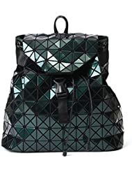 Geometric Lattice Backpack Travel School Bag Drawstring Rucksack for Women Teens (Green)