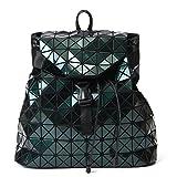 Harlermoon Geometric Luminous Holographic Purses and Handbags Flash Reflactive Tote for Women … (geometric backpack green)