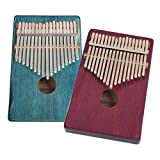 MagiDeal 2 Set 17 Key Mahogany Kalimba Finger Thumb Piano Mbira for Friends Kids Musical Toys Gift