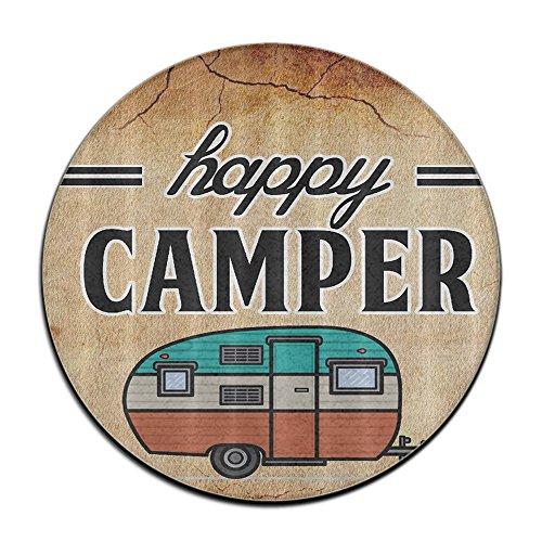 Thyra Landon Happy Camper Camping Art Area Rug Soft Carpet Non-slip Round Floor Mat Woman Yoga Mat (40cm Round)