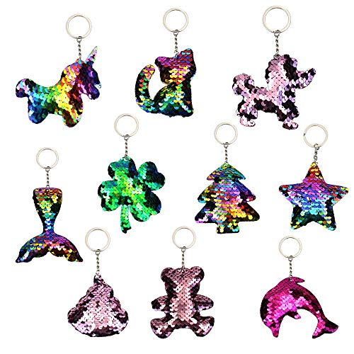 10 Pieces Reversible Sequin Flip Color Change Mermaid Keychain, Keychain Decorations,Novelty Keychain Kids Party Supplies]()