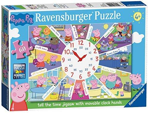 (Ravensburger Peppa Pig - Tell The Time Clock Puzzle, 60pc Jigsaw Puzzle)