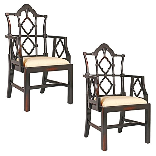Design Toscano Chinese Chippendale Chair: Set of Two