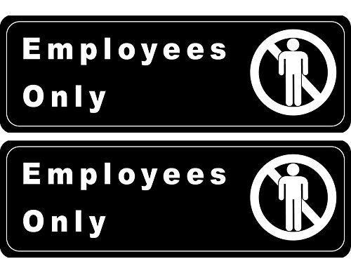 """Employees Only"" Sign, Information Door Sign Plate for Business Office Restaurant Cafe, 3"" x 9"" (Pack of 2) from SunGal"