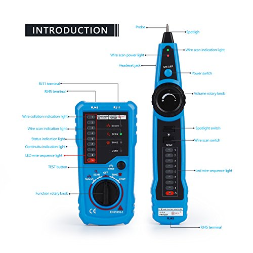 RJ11 RJ45 Cable Tester, LESHP Multifunction Electric Wire Finder Tracker Detector by LESHP (Image #2)