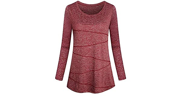 BHYDRY Las Mujeres de Manga Larga sólido Yoga Tops Cuello Redondo Suelta Fitting Camiseta de la Camiseta: Amazon.es: Ropa y accesorios