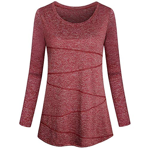 (Blouses for Womens, FORUU Ladies 2018 Winter Sale Christmas Thanksgiving Friday Monday Under 10 Best Gift for Her Long Sleeve Solid Yoga Tops Round Neck Loose Fitting Athletic)
