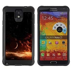 All-Round híbrido Heavy Duty de goma duro caso cubierta protectora Accesorio Generación-II BY RAYDREAMMM - Samsung Galaxy Note 3 - Universe Star Explosion Orange Galaxy Sun
